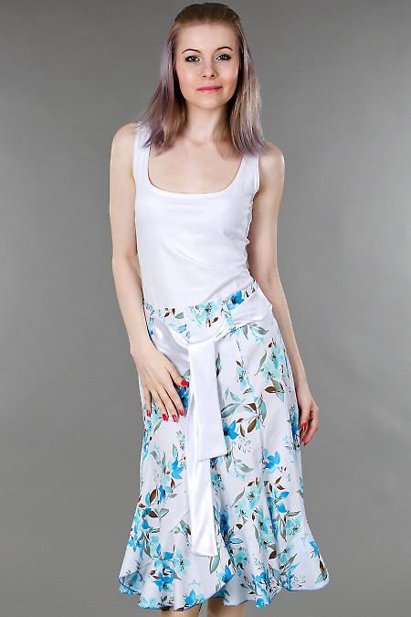 Фото Юбка годе в синие цветочки Деловая женская одежда