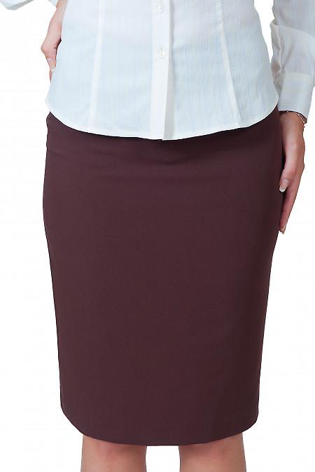 Фото Юбка коричневая классическая вид спереди Деловая женская одежда