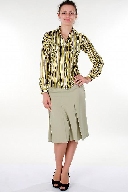 Фото Юбка оливковая со складками Деловая женская одежда