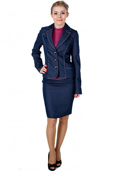 Фото Юбка синяя с молниями вид спереди Деловая женская одежда