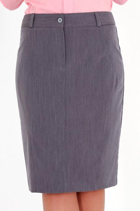 Фото Юбка темно-серая зауженная Деловая женская одежда