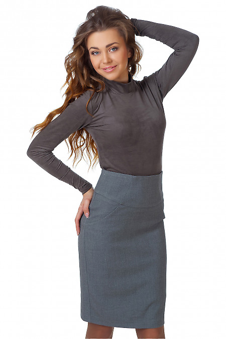 Фото Юбка теплая серая с высокой талией Деловая женская одежда