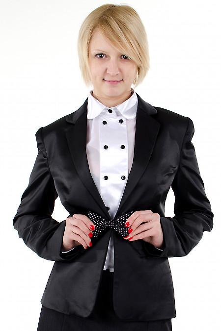 Фото Жакет атласный черный. Деловая женская одежда
