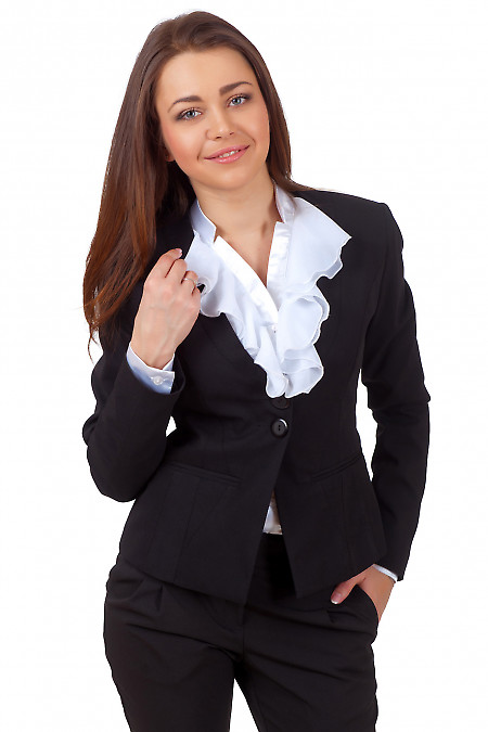Фото Жакет черный с тонким воротником Деловая женская одежда
