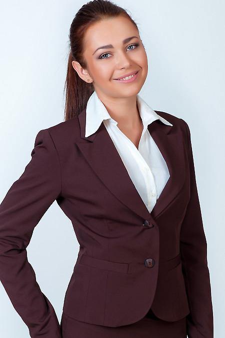 Фото Жакет классический коричневый Деловая женская одежда