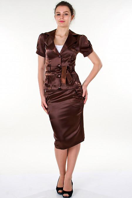 Фото Жакет коричневый с поясом Деловая женская одежда