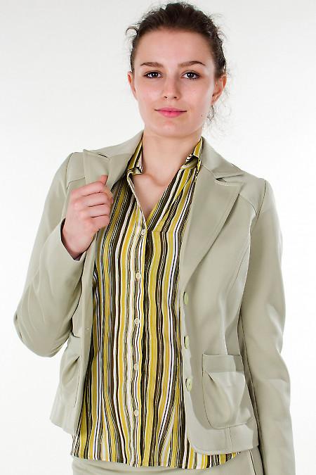Фото Жакет оливковый с карманами Деловая женская одежда