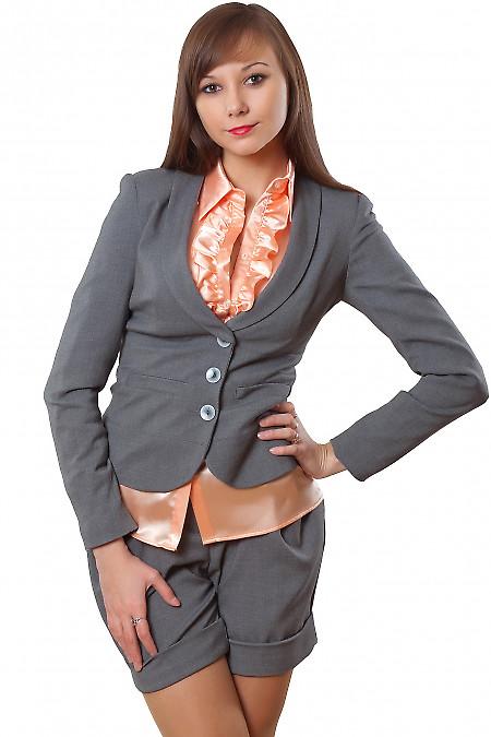 Жакет серый с отрезной талией Деловая женская одежда