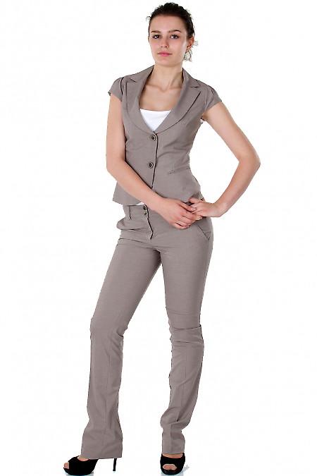 Фото Жилет в мелкую бежевую полоску Деловая женская одежда