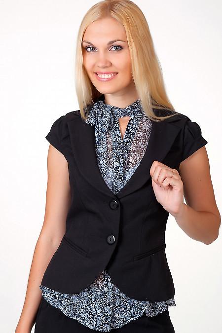 Фото Жилетка черная с круглым вырезом Деловая женская одежда