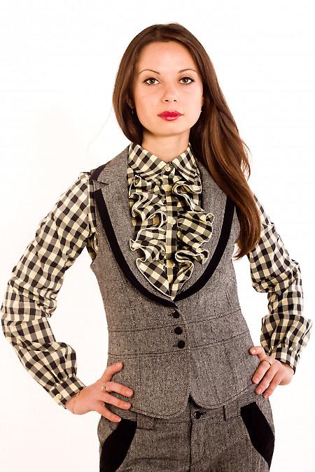 Фото Жилетка из черно-белого твида Деловая женская одежда