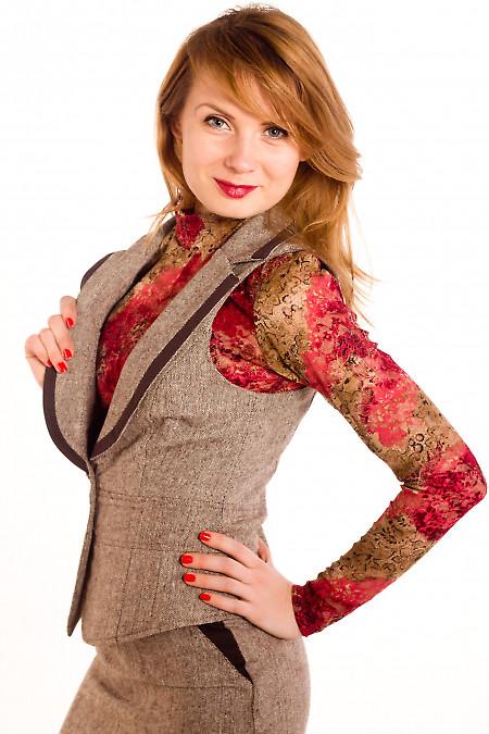 Фото Жилетка из коричневого твида Деловая женская одежда