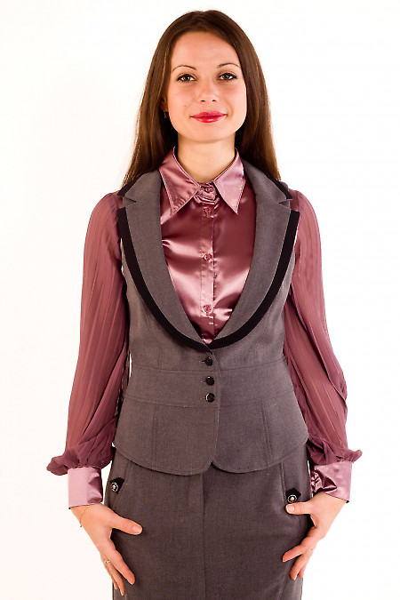Фото Жилетка темно-серая с воротником Деловая женская одежда