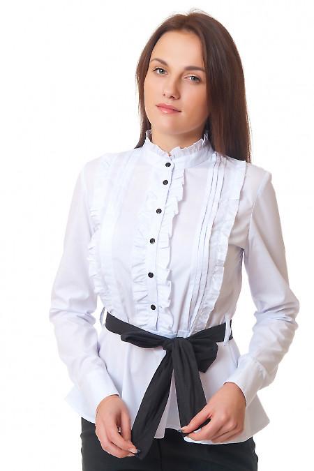 Блузка белая с рюшами и складками Деловая женская одежда