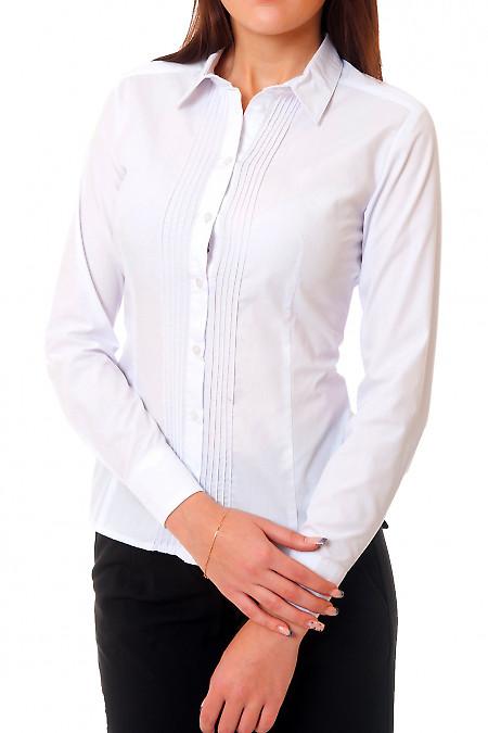 Блузка белая с тонкими складочками Деловая женская одежда