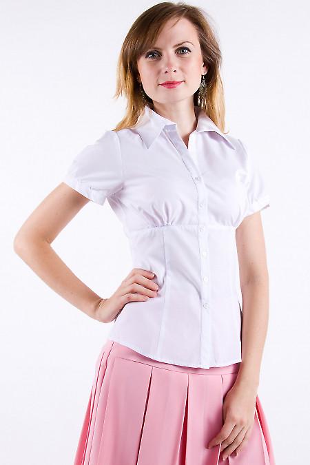 Фото Блузка из хлопка белая Деловая женская одежда