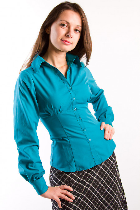 Фото Блузка из зеленого хлопка с длинным рукавом Деловая женская одежда