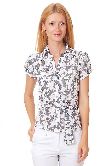Блузка летняя серая с белым Деловая женская одежда