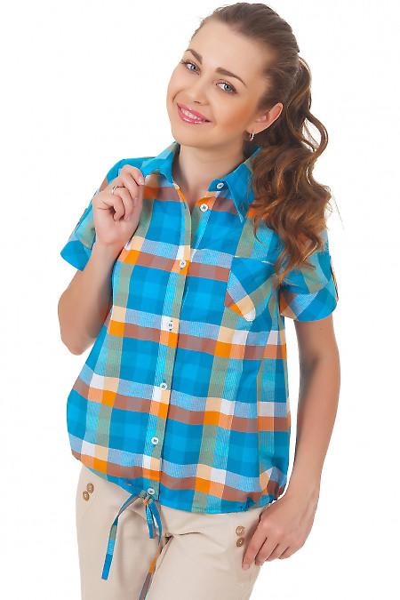 Блузка на кулисе в синюю клетку Деловая женская одежда