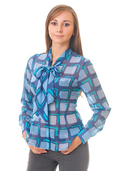 Блузка синяя в голубые квадраты Деловая женская одежда
