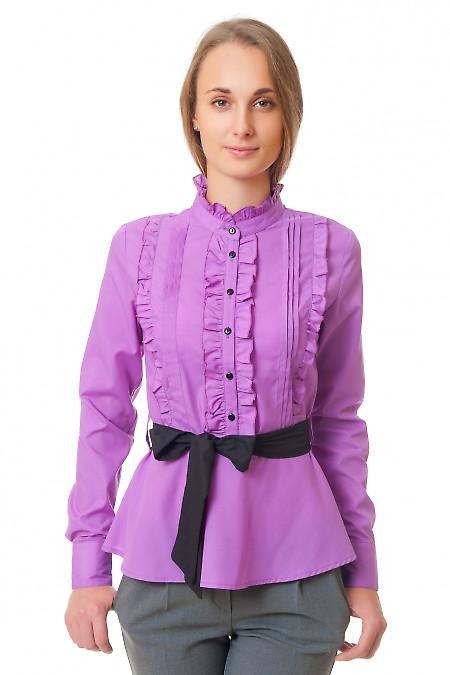 Блузка сиреневая с рюшами и складками Деловая женская одежда