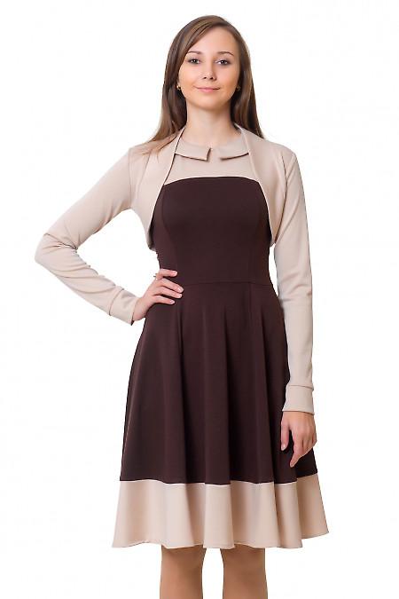 Болеро бежевое с длинным рукавом Деловая женская одежда
