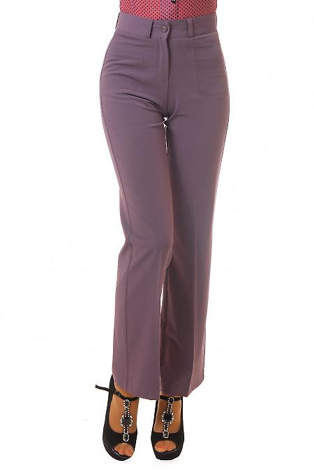 Брюки сиреневые с накладными карманами Деловая женская одежда