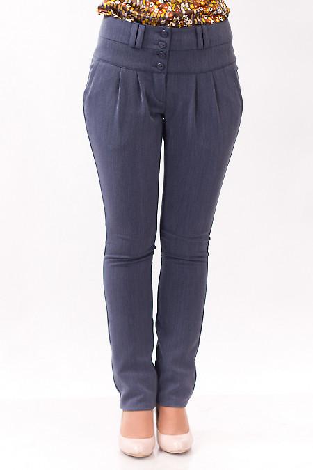 Фото Брюки теплые с защипами серые Деловая женская одежда
