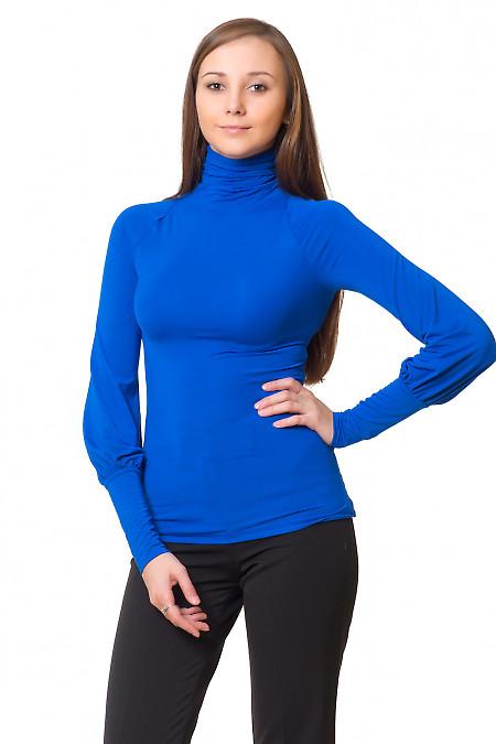 Гольф трикотажный синий с пышным рукавом Деловая женская одежда