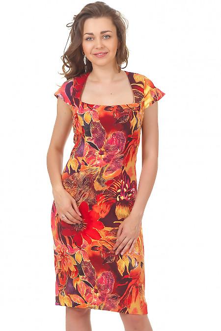 Купить платье бордовое в цветы Деловая женская одежда