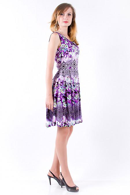 Фото Платье из хлопка в сиреневый цветочек Деловая женская одежда