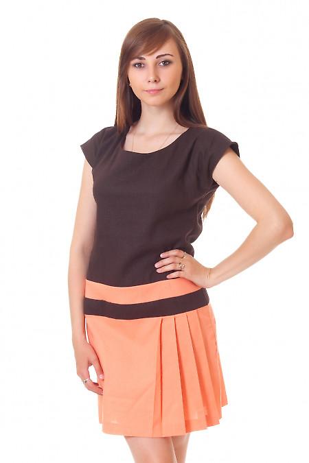 Платье из коричневого льна Деловая женская одежда