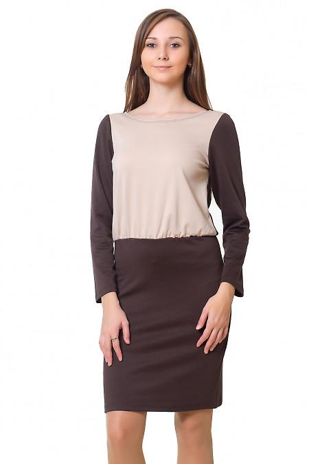 Платье коричневое с бежевой вставкой Деловая женская одежда