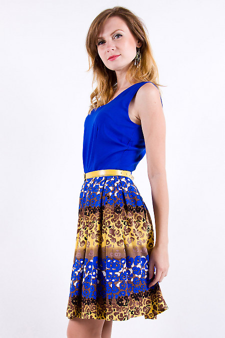 Фото Платье летнее синее из хлопка Деловая женская одежда