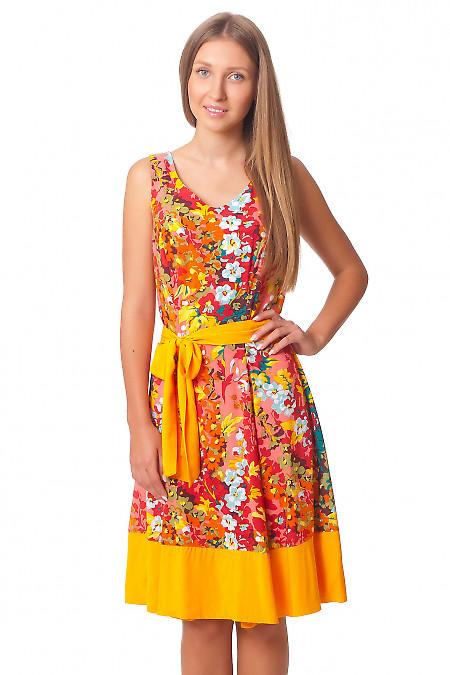 Платье летнее в рыжие цветы Деловая женская одежда