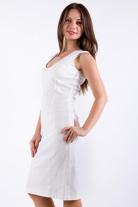 Фото Платье льняное бежевое Деловая женская одежда