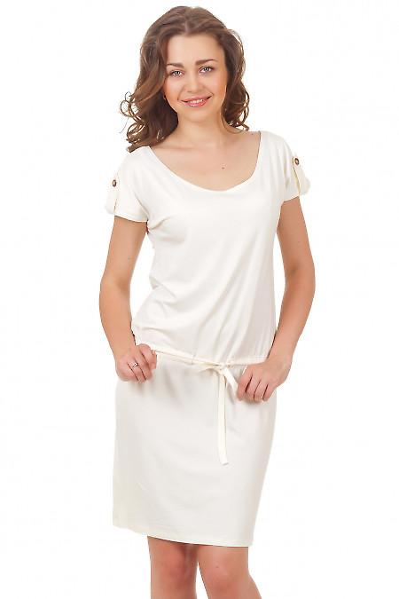 Платье молочное трикотажное Деловая женская одежда