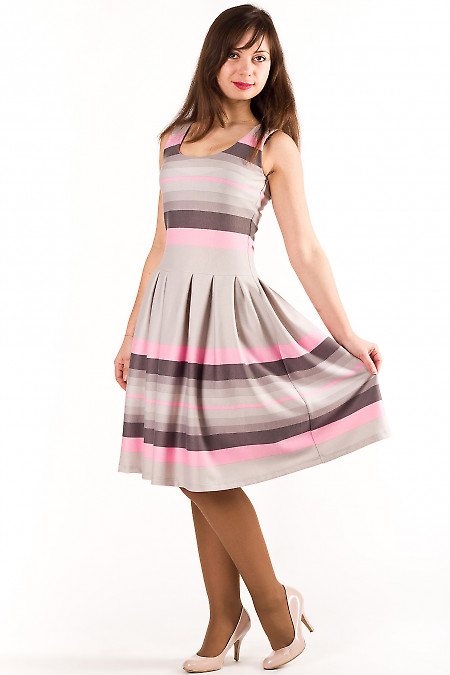 Платье серое в розовую полоску Деловая женская одежда