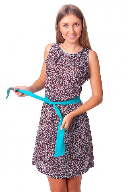 Платье в голубой цветочек Деловая женская одежда