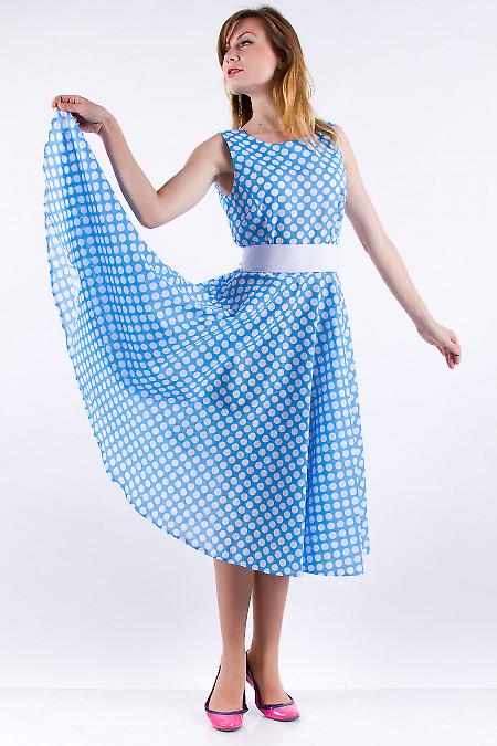 Фото Платье в горох голубое Деловая женская одежда
