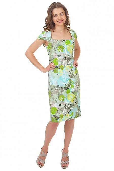 Платье зеленое в цветы Деловая женская одежда