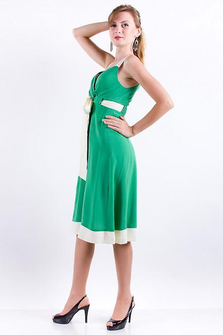 Фото Сарафан зеленый с бежевыми вставками. Деловая женская одежда
