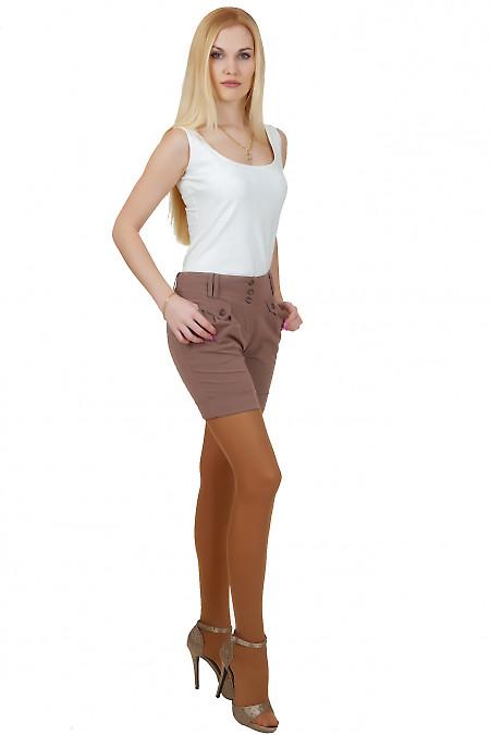 Шорты коричневые с защипами Деловая женская одежда
