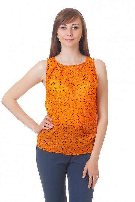 Топ оранжевый в черный горошек Деловая женская одежда