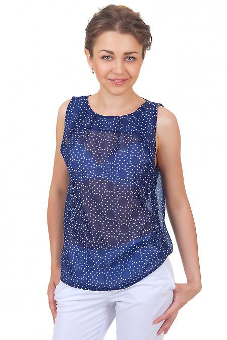 Топ синий в белый горошек Деловая женская одежда