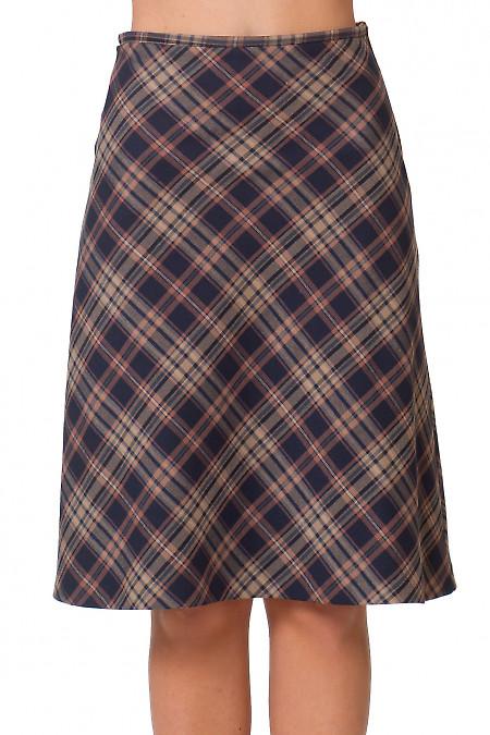 Юбка-трапеция в коричневую клетку Деловая женская одежда