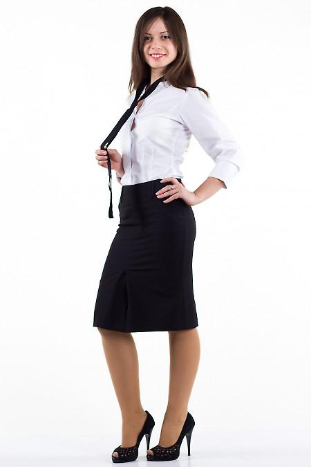 Фото Юбка черная с бантовой складкой Деловая женская одежда