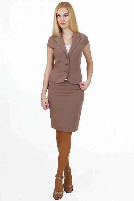 Юбка кофейная классичекая Деловая женская одежда