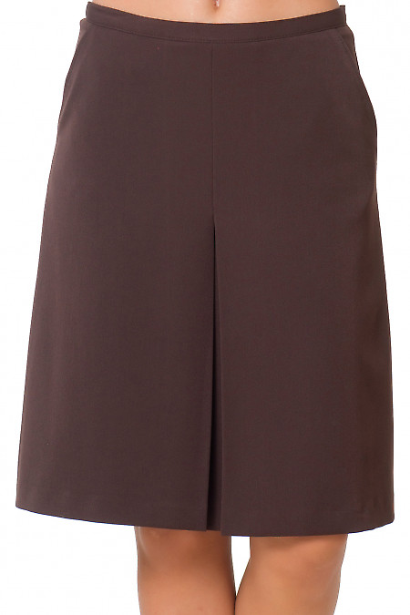 Юбка коричневая теплая со встречной складкой Деловая женская одежда