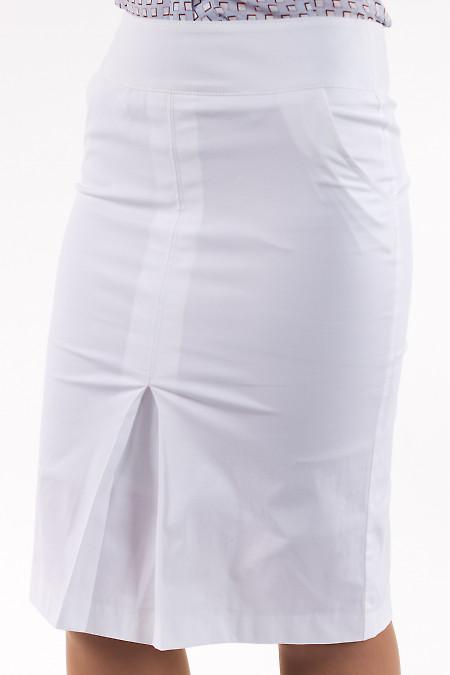Фото Юбка с бантовой складкой белая Деловая женская одежда